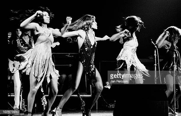 Tina Turner performs live on stage with the Ikettes in Copenhagen Denmark in November 1972