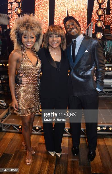 Tina Turner poses with cast members Adrienne Warren and Kobna HoldbrookSmith at the press night performance of 'Tina The Tina Turner Musical' at the...