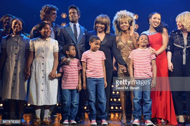 Tina Turner poses with cast members including Kobna HoldbrookSmith and Adrienne Warren at the curtain call during the press night performance of...