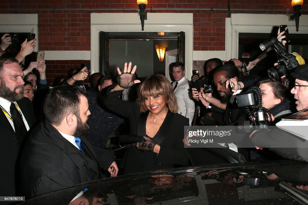 Tina Turner seen at 'Tina' press night at Aldwych Theatre on April 17, 2018 in London, England.
