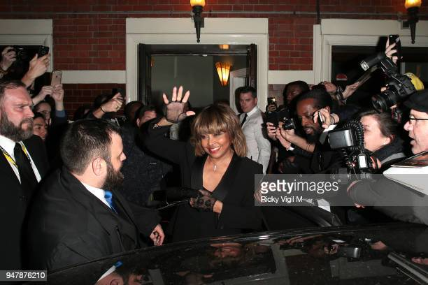 Tina Turner seen at Tina press night at Aldwych Theatre on April 17 2018 in London England