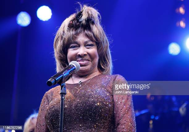 Tina Turner speaks during the Tina The Tina Turner Musical opening night at LuntFontanne Theatre on November 07 2019 in New York City