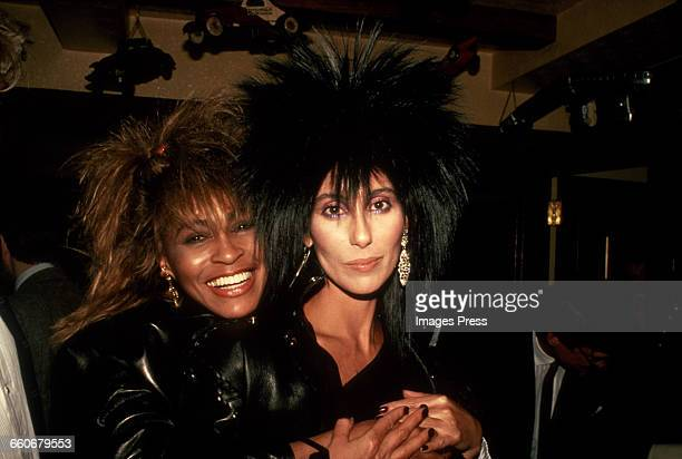 Tina Turner with Cher circa 1985 in New York City