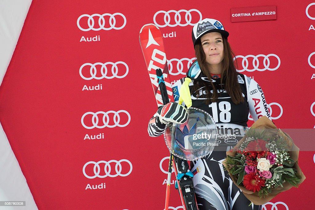 tina-weirather-from-liechtenstein-on-podium-celebrating-her-second-picture-id506780308
