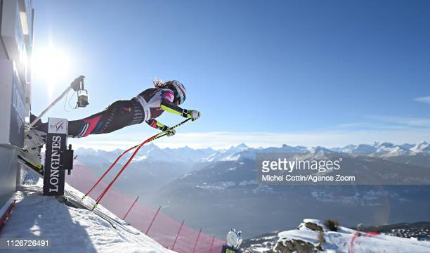 Tina Weirather of Liechtenstein at the start during the Audi FIS Alpine Ski World Cup Women's Downhill Training on February 22, 2019 in Crans Montana...