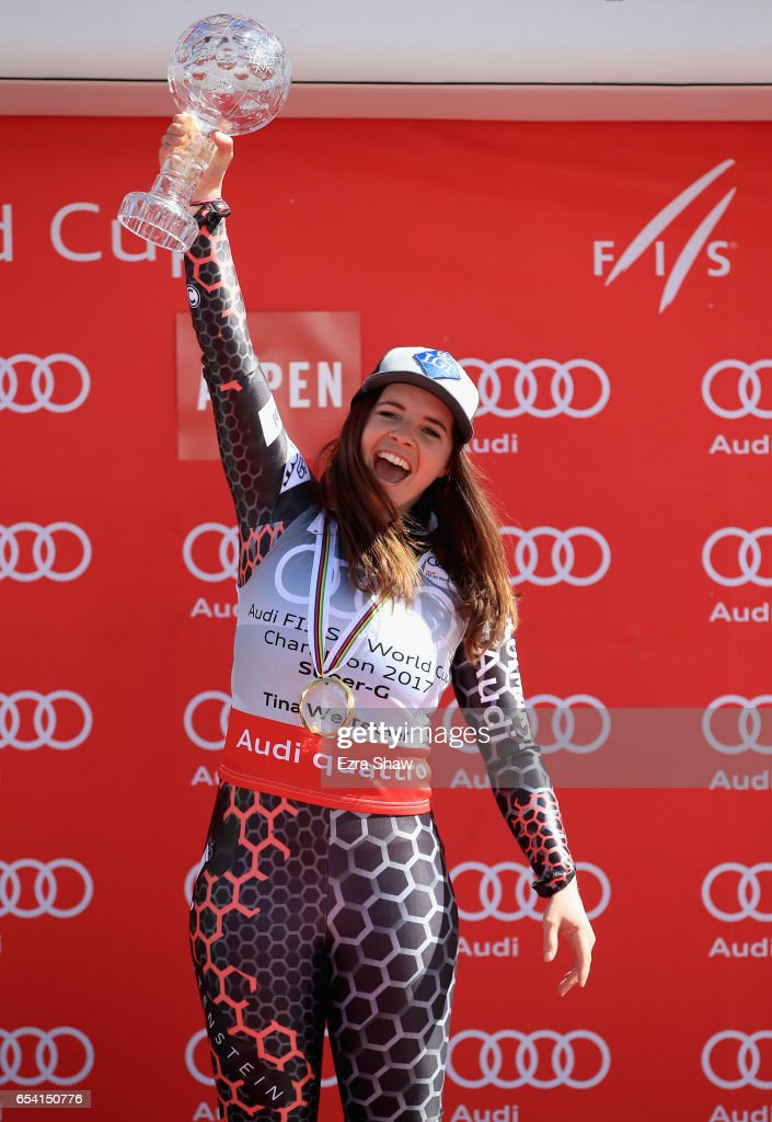 Tina Weirather of Liechtenstein celebrates with the globe after winning the overall title for the ladies' Super-G following the ladies' Super-G race during the Audi FIS Ski World Cup Finals at Aspen Mountain on March 16, 2017 in Aspen, Colorado.