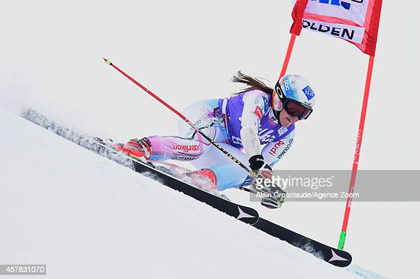 Tina Weirather of Liechtenstein competes during the Audi FIS Alpine Ski World Cup Women's Giant Slalom on October 25 2014 in Soelden Austria