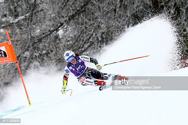 Tina Weirather of Liechtenstein competes during the Audi FIS Alpine Ski World Cup Women's Downhill Training on February 18 2016 in La Thuile Italy