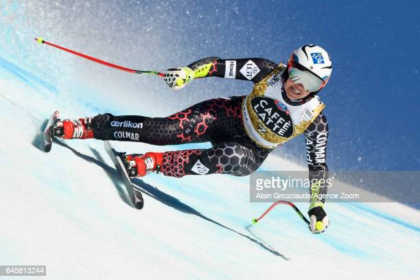 Tina Weirather of Liechtenstein competes during the Audi FIS Alpine Ski World Cup Women's SuperG on February 25 2017 in Crans Montana Switzerland