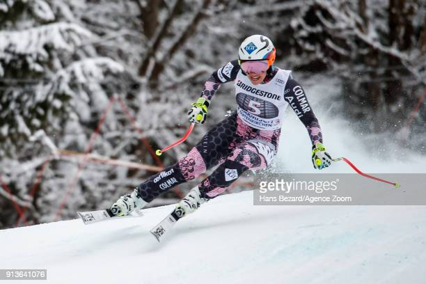 Tina Weirather of Liechtenstein competes during the Audi FIS Alpine Ski World Cup Women's Downhill on February 3 2018 in GarmischPartenkirchen Germany