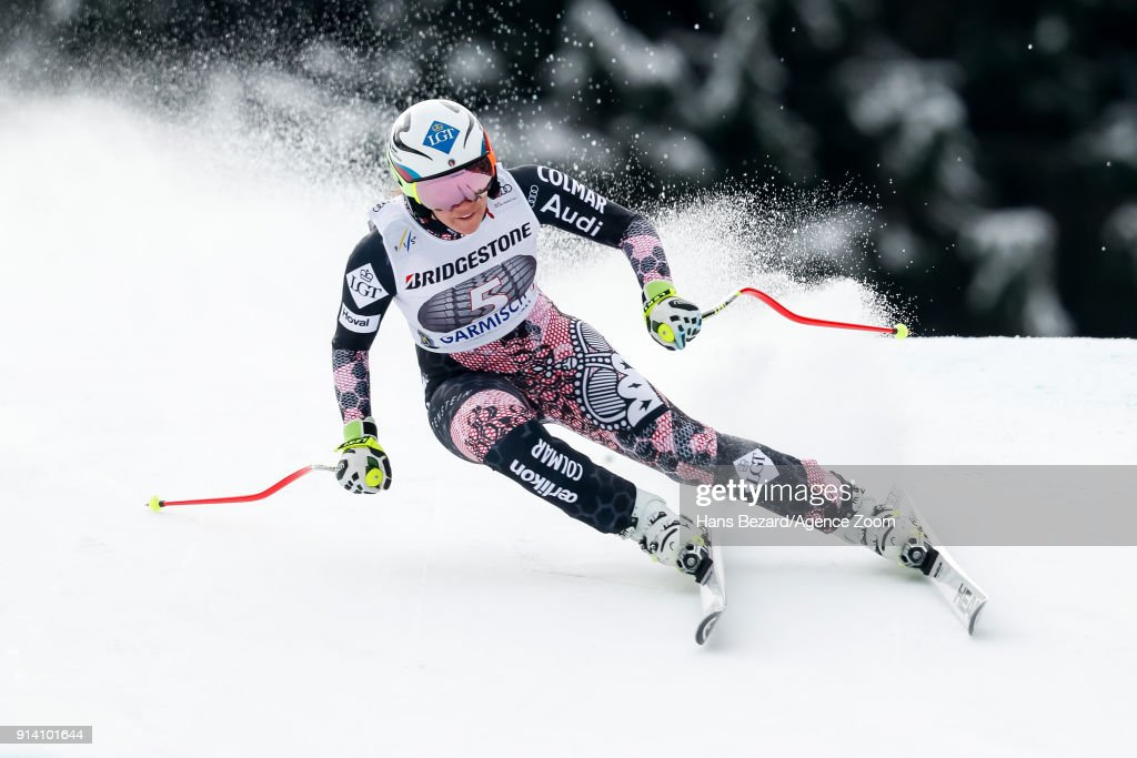 Tina Weirather of Liechtenstein competes during the Audi FIS Alpine Ski World Cup Women's Downhill on February 4, 2018 in Garmisch-Partenkirchen, Germany.