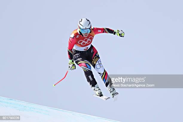 Tina Weirather of Liechtenstein in action during the Alpine Skiing Women's Downhill at Jeongseon Alpine Centre on February 21 2018 in Pyeongchanggun...