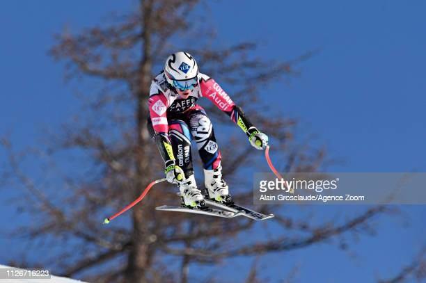 Tina Weirather of Liechtenstein in action during the Audi FIS Alpine Ski World Cup Women's Downhill Training on February 22, 2019 in Crans Montana...