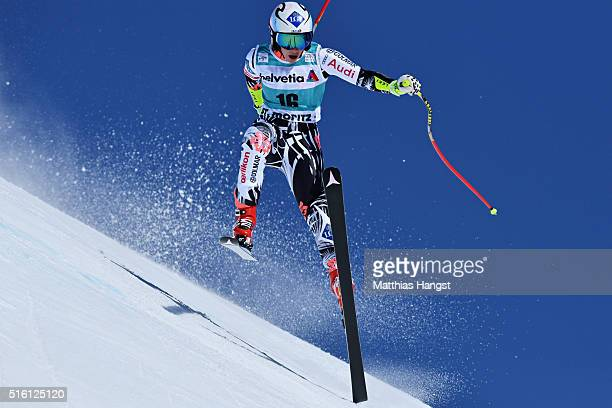 Tina Weirather of Liechtenstein in action during the Audi FIS Alpine Ski World Cup Finals Men's and Women's Super G on March 17 2016 in St Moritz...
