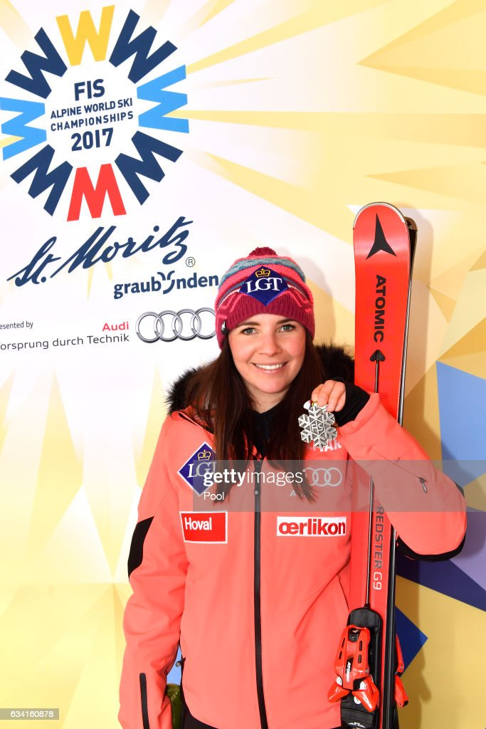 Tina Weirather of Liechtenstein poses with the silver medal during the medal ceremony for the Women's Super G during the FIS Alpine World Ski Championships on February 7, 2017 in St Moritz, Switzerland.