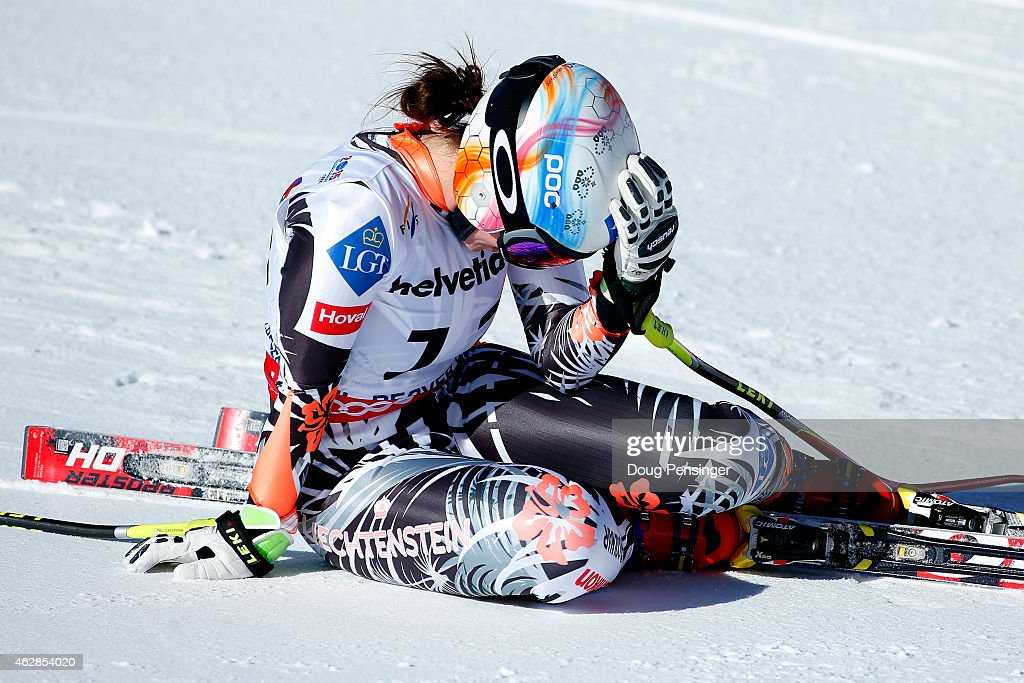 Tina Weirather of Liechtenstein reacts after crossing the finish of the Ladies' Downhill in Red Tail Stadium on Day 5 of the 2015 FIS Alpine World Ski Championships on February 6, 2015 in Beaver Creek, Colorado.