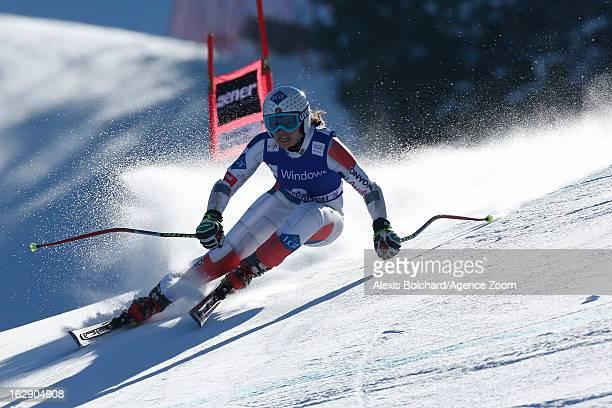 Tina Weirather of Liechtenstein takes 1st place during the Audi FIS Alpine Ski World Cup Women's SuperG on March 01 2013 in GarmischPartenkirchen...