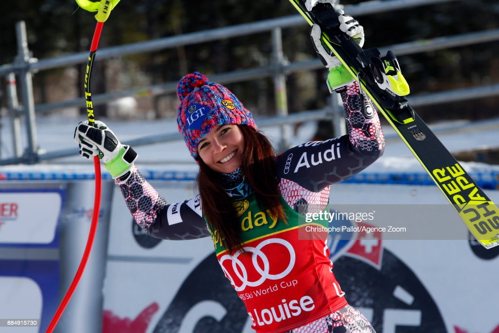 Tina Weirather of Liechtenstein takes 1st place during the Audi FIS Alpine Ski World Cup Women's Super G on December 3, 2017 in Lake Louise, Canada.