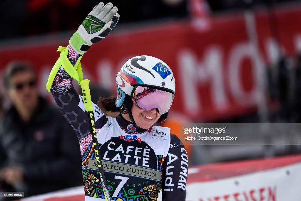 Tina Weirather of Liechtenstein takes 1st place during the Audi FIS Alpine Ski World Cup Women's Super G on March 3, 2018 in Crans-Montana, Switzerland.