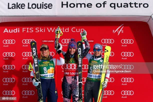 Tina Weirather of Liechtenstein takes 1st place Lara Gut of Switzerland takes 2nd place Nicole Schmidhofer of Austria takes 3rd place during the Audi...