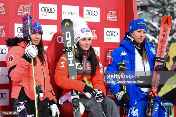 Tina Weirather of Liechtenstein takes 2nd place Anna Veith of Austria takes 1st place Sofia Goggia of Italy takes 3rd place during the Audi FIS...