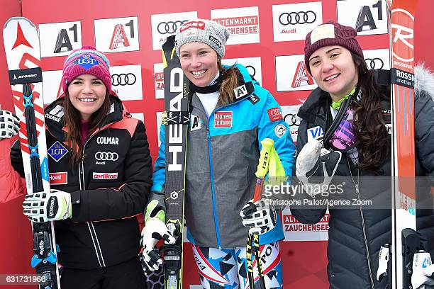 Tina Weirather of Liechtenstein takes 2nd place Christine Scheyer of Austria takes 1st place Jacqueline Wiles of USA takes 3rd place during the Audi...