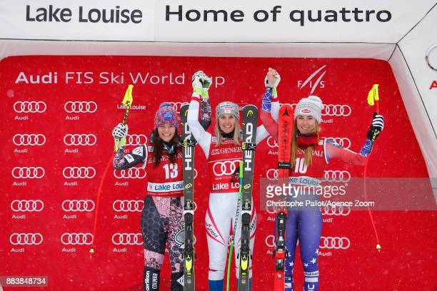Tina Weirather of Liechtenstein takes 2nd place Cornelia Huetter of Austria takes 1st place Mikaela Shiffrin of USA takes 3rd place during the Audi...