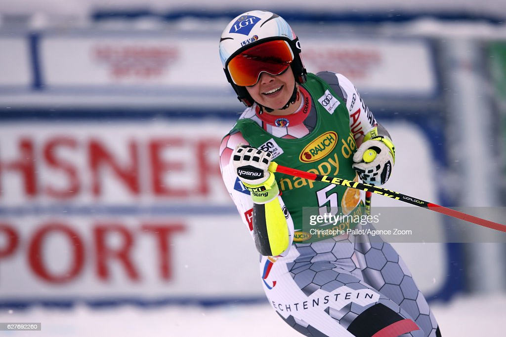 Tina Weirather of Liechtenstein takes 2nd place during the Audi FIS Alpine Ski World Cup Women's Super-G on December 4, 2016 in Lake Louise, Canada