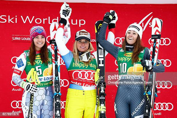 Tina Weirather of Liechtenstein takes 2nd place Lara Gut of Switzerland takes 1st place Sofia Goggia of Italy takes 3rd place during the Audi FIS...
