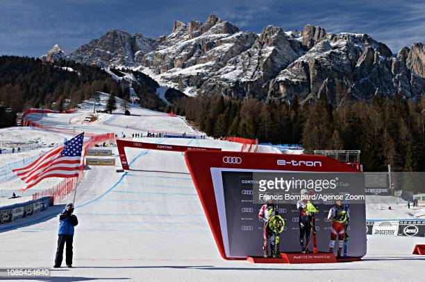 Tina Weirather of Liechtenstein takes 2nd place, Mikaela Shiffrin of USA takes 1st place, Tamara Tippler of Austria takes 3rd place during the Audi...