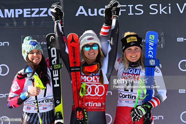 Tina Weirather of Liechtenstein takes 2nd place Mikaela Shiffrin of USA takes 1st place Tamara Tippler of Austria takes 3rd place during the Audi FIS...
