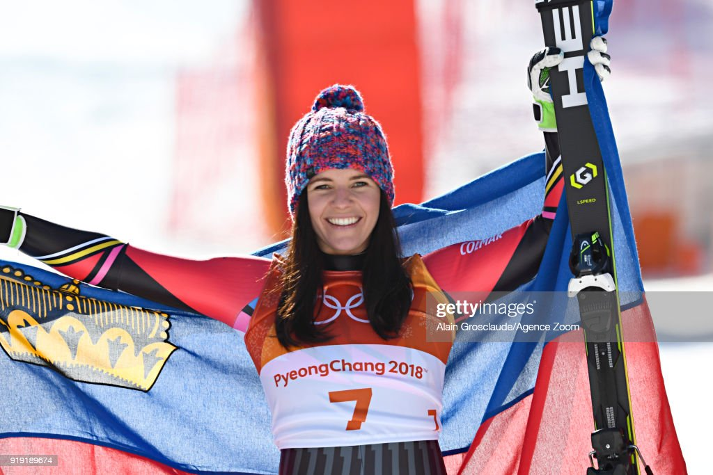 Tina Weirather of Liechtenstein wins the bronze medal during the Alpine Skiing Women's Super-G at Jeongseon Alpine Centre on February 17, 2018 in Pyeongchang-gun, South Korea.