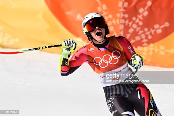 Tina Weirather of Liechtenstein wins the silver medal during the Alpine Skiing Women's SuperG at Jeongseon Alpine Centre on February 17 2018 in...