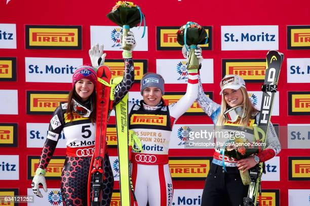 Tina Weirather of Liechtenstein wins the silver medal Nicole Schmidhofer of Austria wins the gold medal Lara Gut of Switzerland wins the bronze medal...