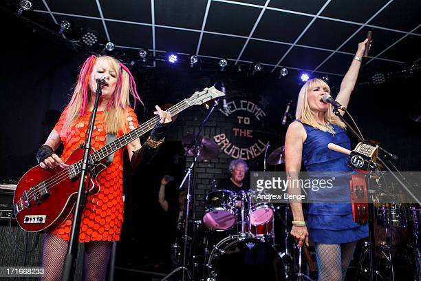 Tina Weymouth, Victoria Clamp and Chris Frantz of Tom Tom Club perform on stage at Brudenell Social Club on June 27, 2013 in Leeds, England.