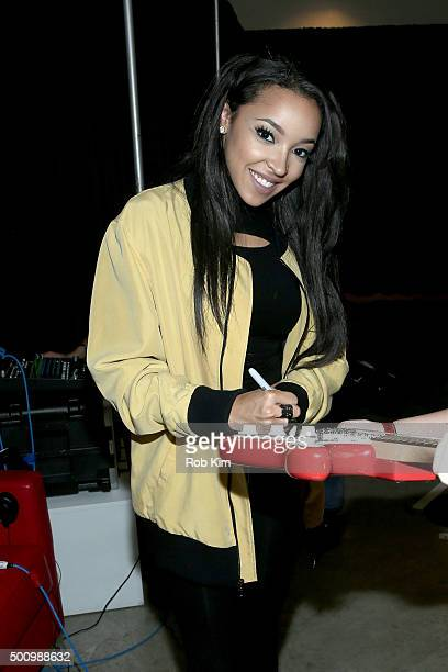 Tinashe attends Z100's Jingle Ball 2015 Z100 CocaCola All Access Lounge Backstage at Hammerstein Ballroom on December 11 2015 in New York City