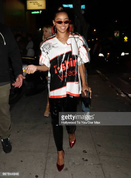 Tinashe is seen on July 12 2018 in Los Angeles California