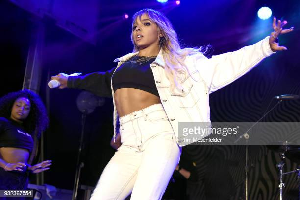 Tinashe performs at the Pandora showcase during the South by Southwest conference and festivals on March 14 2018 in Austin Texas