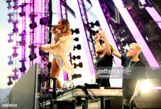 Tinashe performs with James Carter and Oliver of Snakehips onstage during the 2018 Coachella Valley Music And Arts Festival at the Empire Polo Field...