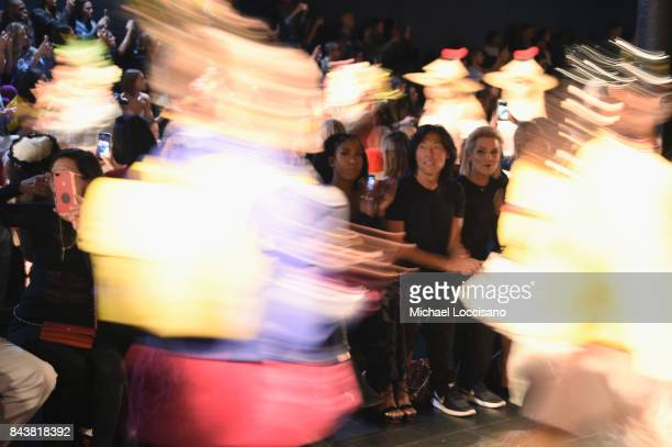 Tinashe Stephen Gan and Yolanda Hadid attend Desigual fashion show during New York Fashion Week The Shows at Gallery 1 Skylight Clarkson Sq on...