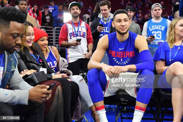 Tinashe talks with Ben Simmons of the Philadelphia 76ers prior to Game Two of Round One of the 2018 NBA Playoffs against the Miami Heat on April 16...