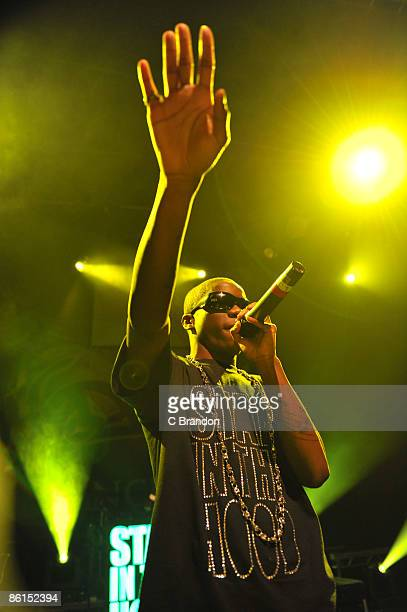 Tinchy Stryder performs as support for NDubz on stage at Shepherds Bush Empire on April 18 2009 in London England