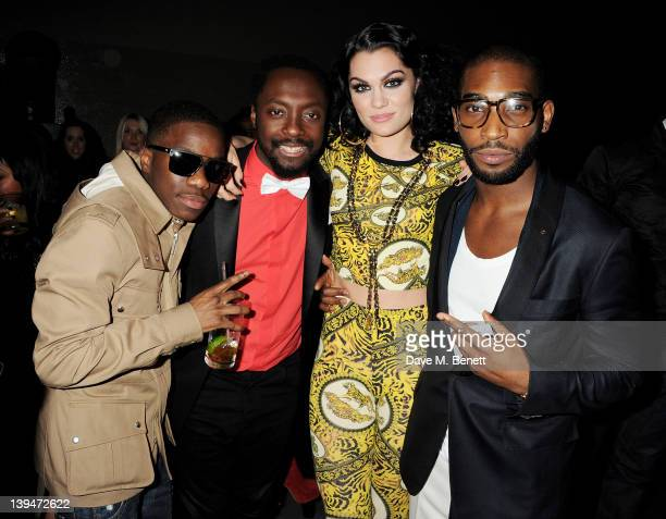Tinchy Stryder william Jessie J and Tinie Tempah attend the Universal Music Brits party hosted by Bacardi at the Soho House Pop Up in the Tate Modern...