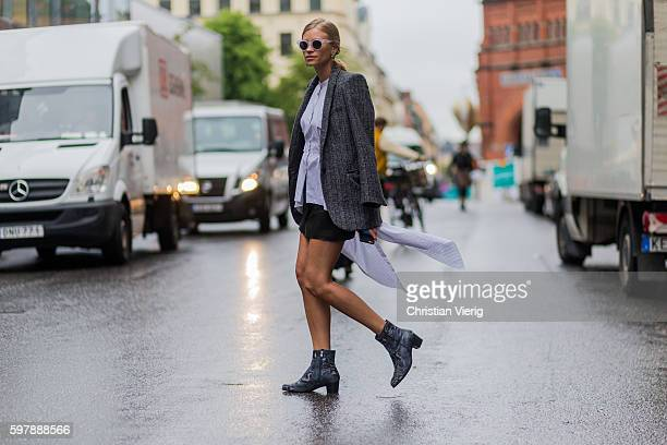 Tine Andrea outside Busnel during the first day of the Stockholm Fashion Week Spring/Summer 2017 on August 29 2016 in Stockholm Sweden