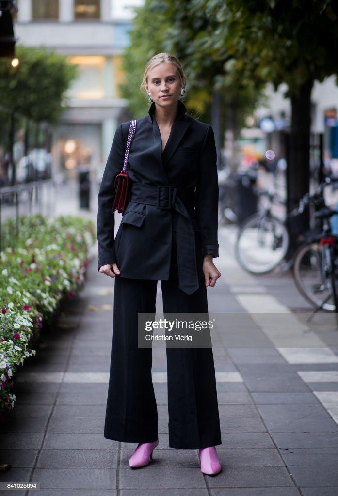 Street Style - Day 1 - Stockholm Fashion week Spring/ Summer 2018 : News Photo