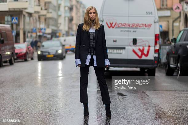 Tine Andrea outside Stylein during the first day of the Stockholm Fashion Week Spring/Summer 2017 on August 29 2016 in Stockholm Sweden