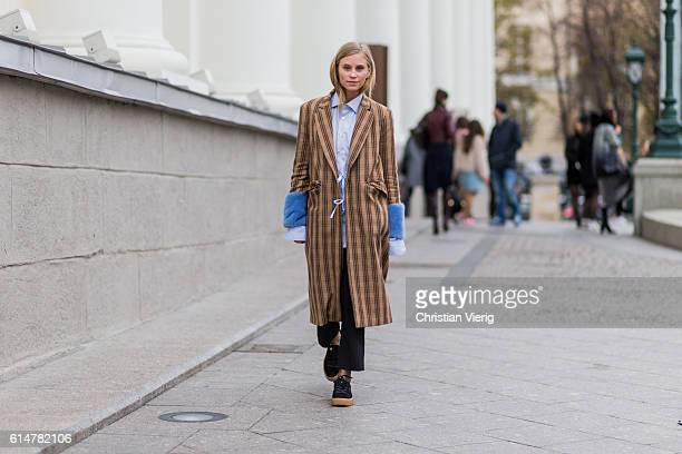 Tine Andrea wearing a Saks Potts coat on October 14 2016 in Moscow Russia