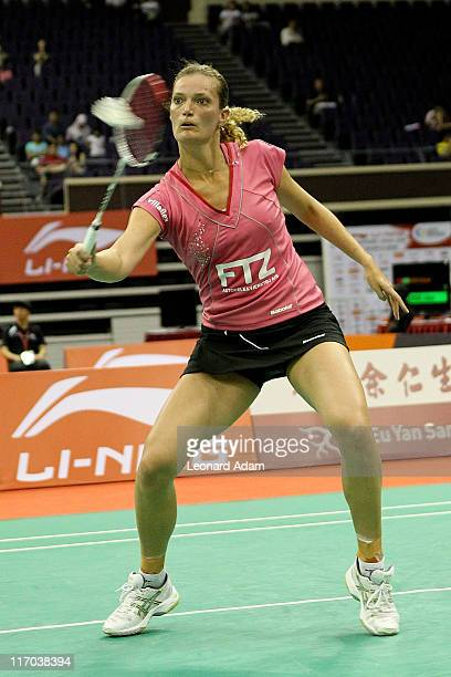 Tine Baun of Denmark competes in her match against Shao Chieh Cheng of Taipe during day four of the LiNing Singapore Open at Singapore Indoor Stadium...