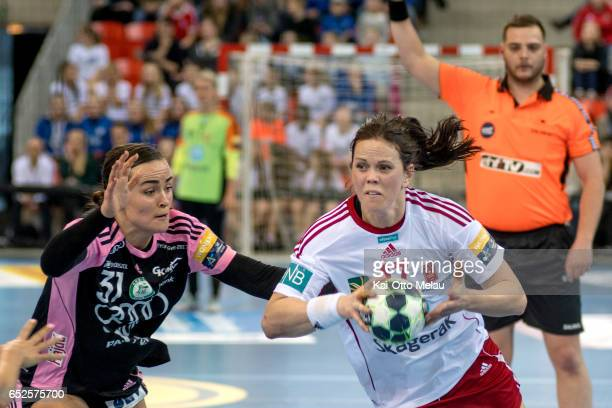 Tine Stange in the game between Larvik HK and Gyori Audi ETO KC on March 12 2017 in Larvik Norway