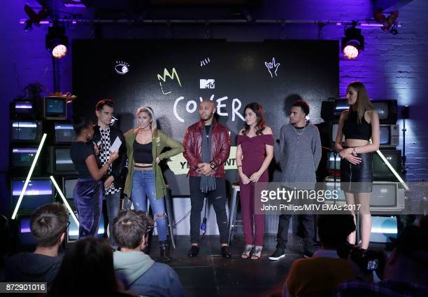 Tinea Taylor interviews Mike Tompkins Andie Case IDRISE Lauren Black Ralph Larenzo and Ellen Blane during the MTV EMAs 2017 Breaks Sessions on...